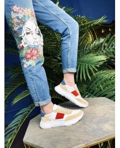 Женские кожаные кроссовки cori-06 цветные