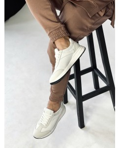 Мужские белые кожаные кроссовки 0015-03