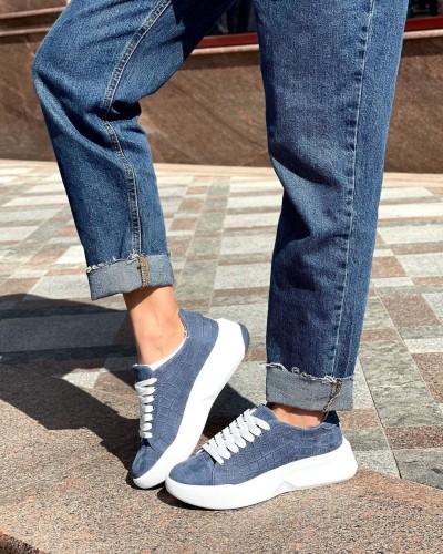 Женские кроссовки синего цвета 1012-02