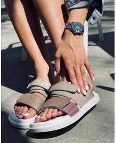 Женские шлепки 008-01 капучино кожа