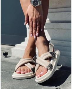 Женские босоножки 008-03 беж кожа, цветной питон