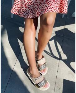Женские шлепки 008-01 беж кожа, цветной питон