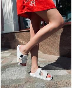Женские шлепки 008-01 белая кожа, белый питон