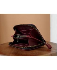 Кожаный женский кошелек арт. 216 Mid бордового цвета