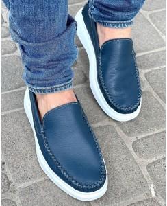 Мужские синие кожаные слипоны