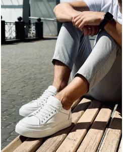 Мужские белые кеды 0001-04