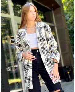 Женское пальто Д359 купон чёрно-Белый