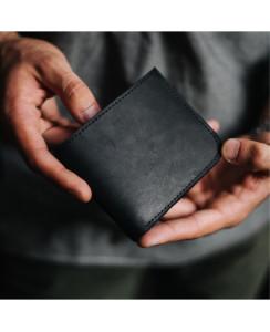 Кожаный мужской кошелек арт. 108 черного цвета из натуральной кожи