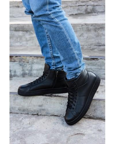 Мужские Черные Зимние Ботинки (Мех/Байка)