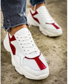 Мужские красн/бел кроссовки